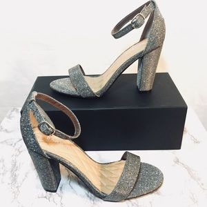 Pewter Strappy Block Heels NWT